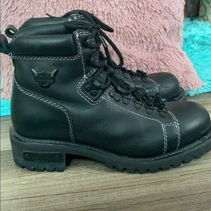 Harley Davidson Electron Black Leather Boots